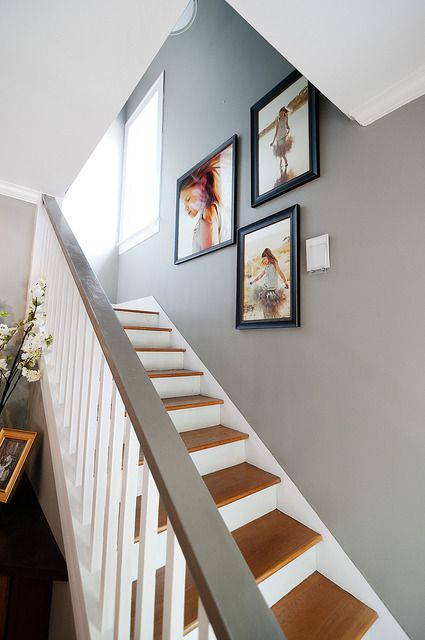 Could this be the colour I'm looking for in up the hallway...same stairs (check), gallery wall (check), grey that actually looks grey and not gross kinda white/bluey/grey (check)