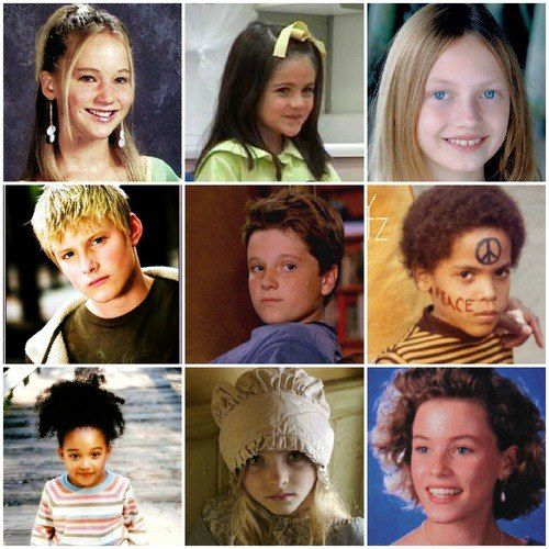Hunger Games cast as kids! Jennifer Lawrence, Isabelle Fuhrman, Jacqueline Emerson, Alexander Ludwig, Josh Hutcherson, Dayo Okeniyi, Amandla Stenberg, Willow Shields, and Elizabeth Banks.