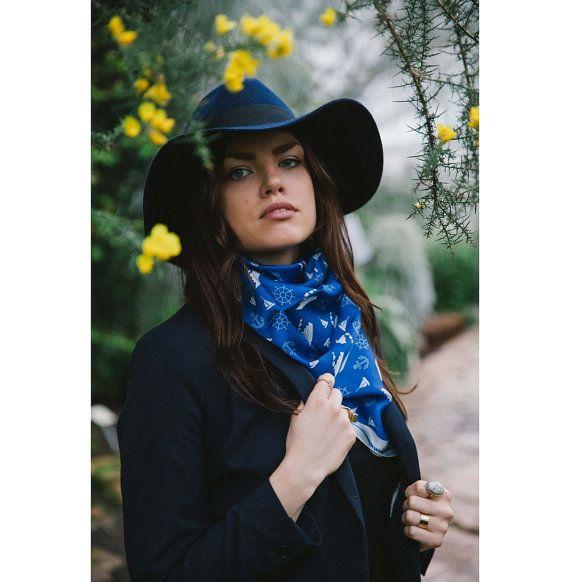 Sea theme on a blue square silk satin scarf  Women fashion