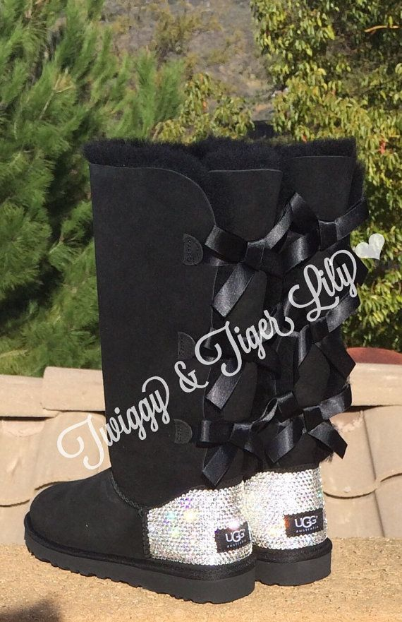 NEW Black TALL Bailey Bow Uggs With by TwiggyAndTigerLily on Etsy
