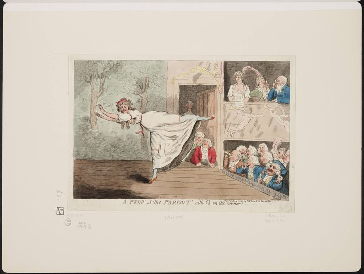 'A peep at the Parisot with Q in the corner!' Isaac Cruikshank, 1796. Fox, Pitt and Sheridan with the Duke of Queensberry who was thought of as a libertine for his rampant womanizing and wild lifestyle. Mademoiselle Parisot was a French ballet dancer whose provocative costumes and dances caused an uproar in London. (Pitt certainly seems to be enjoying the, er, spectacle!)