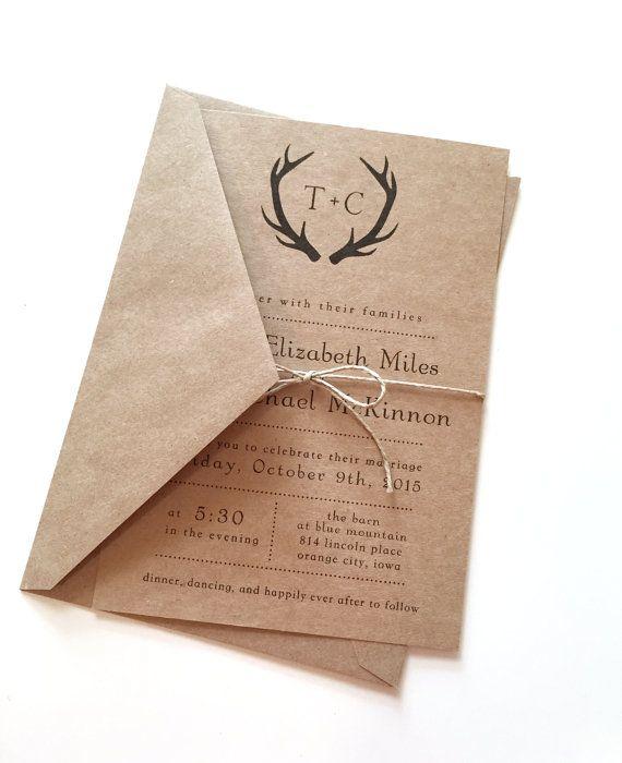 Rustic Black Antlers Wedding Invitations by LemonInvitations