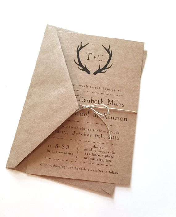 Rustic Black Antlers Wedding Invitations by LemonInvitations