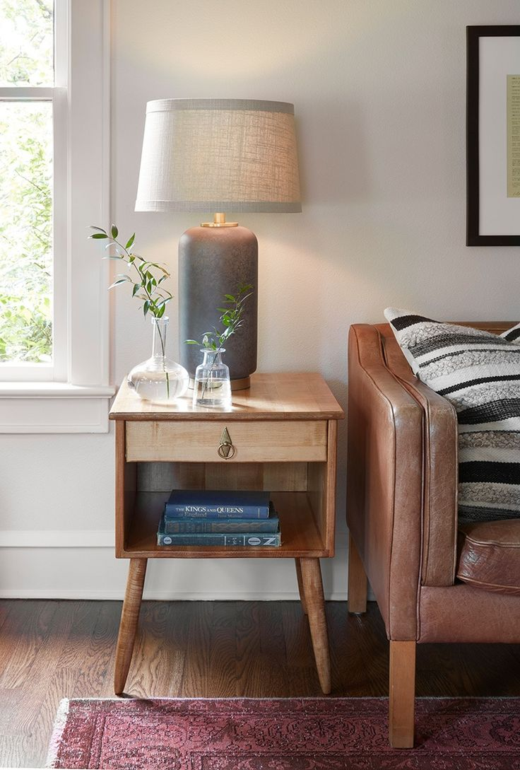 One really special part of this room was getting to incorporate these side tables that Matt's grandfather built. They were beautiful all on their own, but add the fact that they're now heirlooms and they couldn't be more perfect.