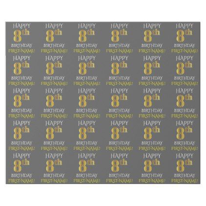 """Gray Faux Gold """"HAPPY 8th BIRTHDAY"""" Wrapping Paper - simple clear clean design style unique diy"""