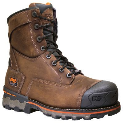 Timberland Pro Boondock 8'' Waterproof Safety Toe Work Boots for Men - Brown Distressed - 11.5W