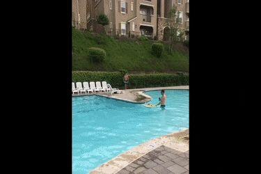 FAIL: Cruzar la piscina con tabla se surf { GIF } #caidas #fail