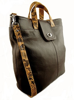 Freeload Accessories chocolate & python effect leather 'Gainsborough' Shopper.