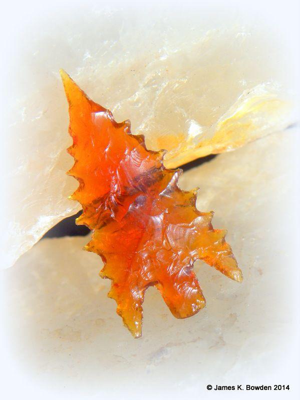American Fire Opal (also known as Juniper Ridge Fire Opal) Calapooya Arrowhead flintknapped by James K. Bowden.  #arrowhead #opal #preciousopal #juniperridgeopal #fireopal #flintknap #JimBowden #Calapooya