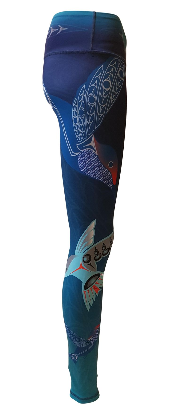 Yoga Legging, Made in Canada. Hummingbird, Love and Light. Beautiful blue, green, teal colours, like the hummingbird. The hummingbird reminds us how beautiful we are .