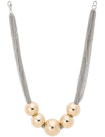 Short & spunky statement necklace amps up any outfit with a versatile two-tone display of oversized goldtone beads on layered silvertone chains. Lobster claw closure with extender. lanebryant.com