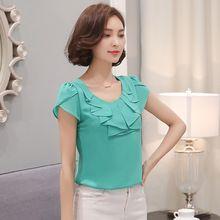 Verão 2016 novas mulheres da moda tops de manga Curta chiffon roupas femininas Coreano blusa elegante solto camisa fêmea 861C 25(China (Mainland))