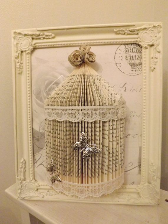 shabby chic bird cage Origami book fold art. in a shabby chic frame size frame is 10 x 8 special offer