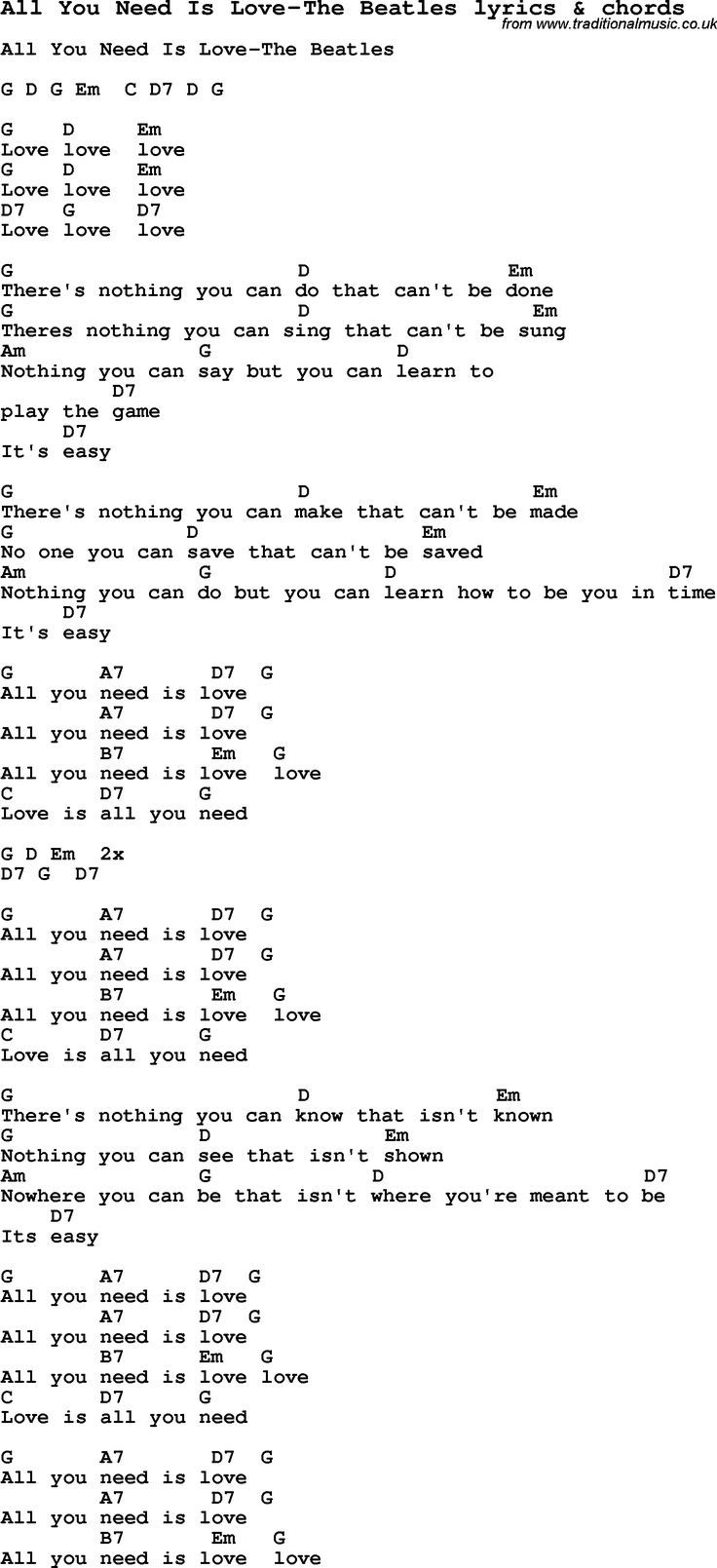 505 best music images on pinterest ukulele chords ukulele tabs love song all you need is love the beatles with chords and lyrics for ukulele guitar banjo and other instruments hexwebz Image collections