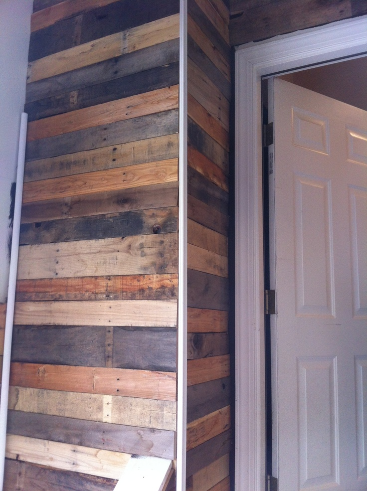 Here S The Corner Of My Wood Pallet Wall With The Trim