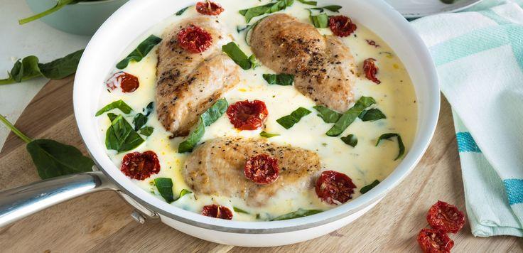 Kremet kyllinggryte med soltørkede tomater og spinat -