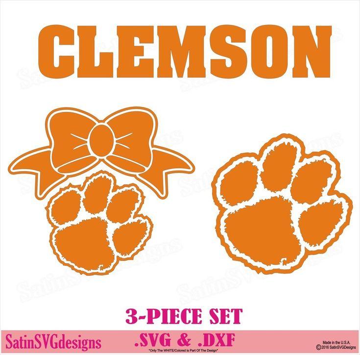Clemson Tigers Paw Bow Design SVG Files, Cricut, Silhouette Studio, Digital Cut Files