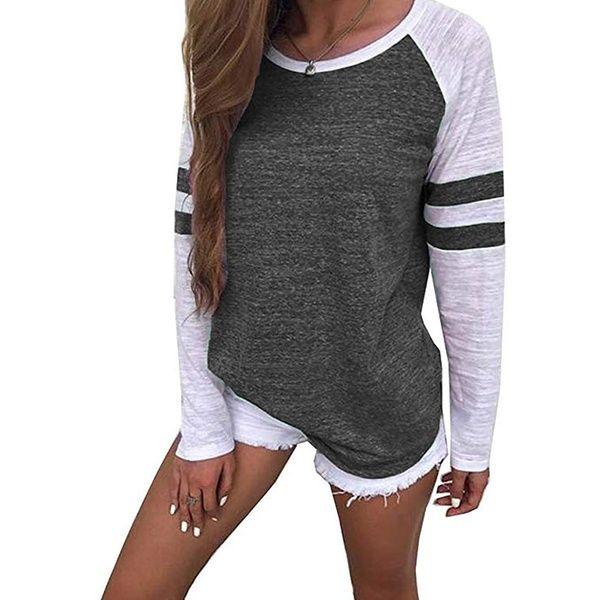 Long Sleeve Blouse O Neck Top Shirt Loose Womens Pullover Ladies Casual T-Shirt