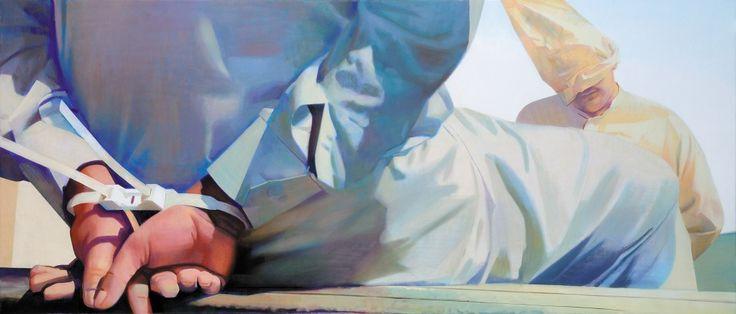 Két férfi / Two Men olaj, vászon / oil on canvas, 90 x 210cm, 2009. Zinsler…