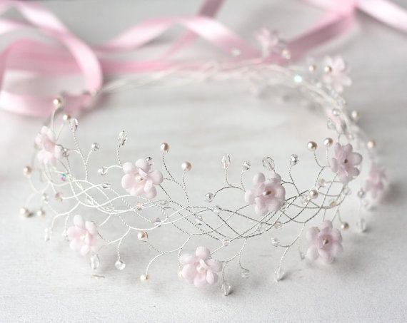 31_Pink flower crown, Bridal crown, Wedding crown, Pink bridal crown, Bridal crown, Flower bridal crown, Hair accessories, Headband, Crowns.