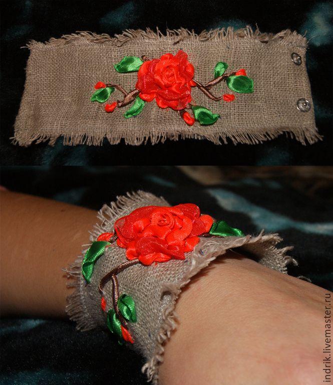 Купить Льняной браслет - серый, лен, атласные ленты, вышивка, украшение, браслет, лен