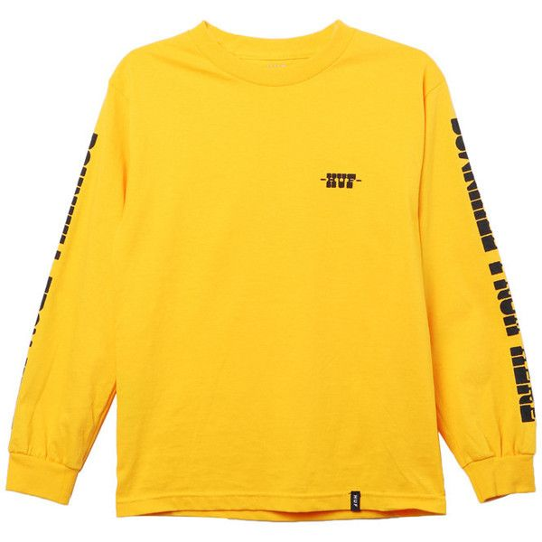 HUF Downhill Tee ($36) ❤ liked on Polyvore featuring tops, t-shirts, shirts, sweaters, shirt top, tee-shirt, t shirt, yellow t shirt and yellow shirt