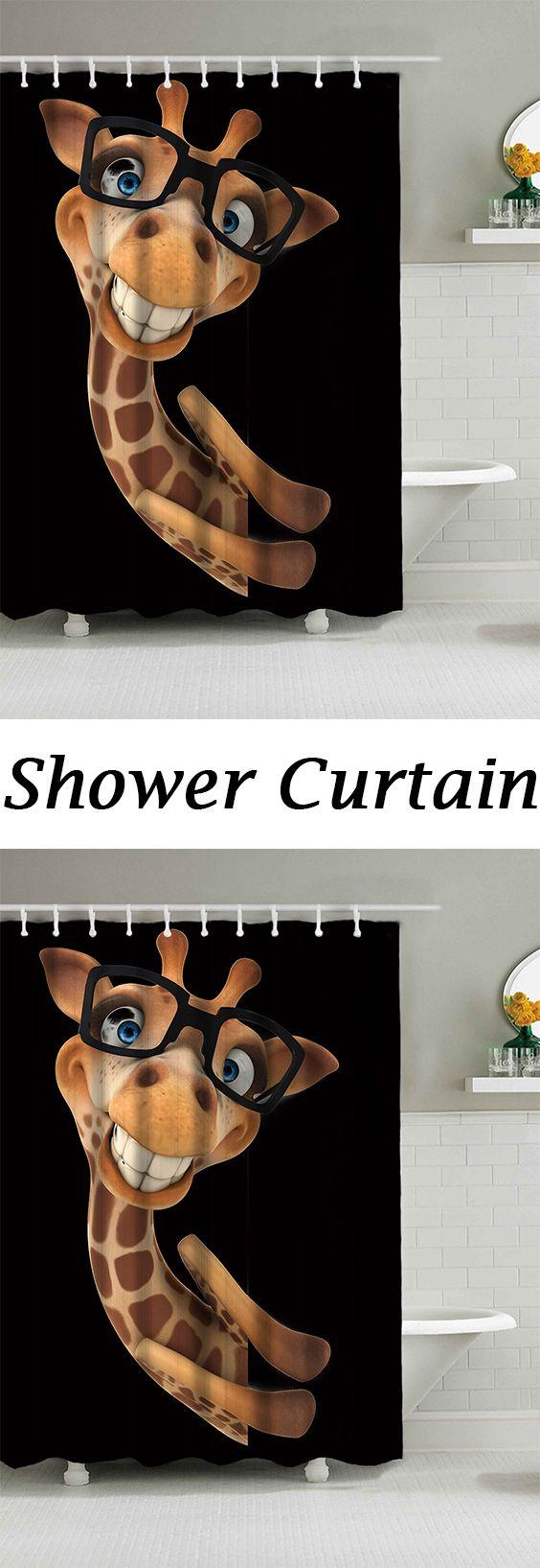Wear Glasses Smile Giraffe Waterproof Fabric Shower Curtain