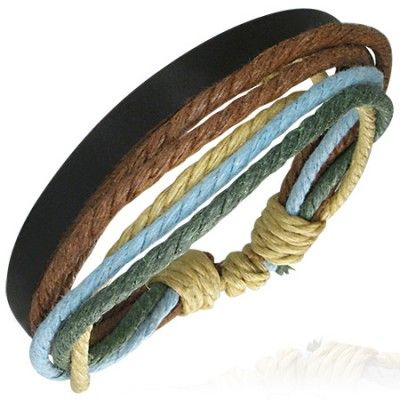 Surf style men's leather & cord bracelet  Multi strands  Brown & blue cord & leather  Expandable size from 8in to 9.5in, 20 to 24cm  Width 15mm approx  Water resistant & hard wearing  Ideal for a simple wrist wear style for men  We stock a great selection of modern Mens Bracelets in store!