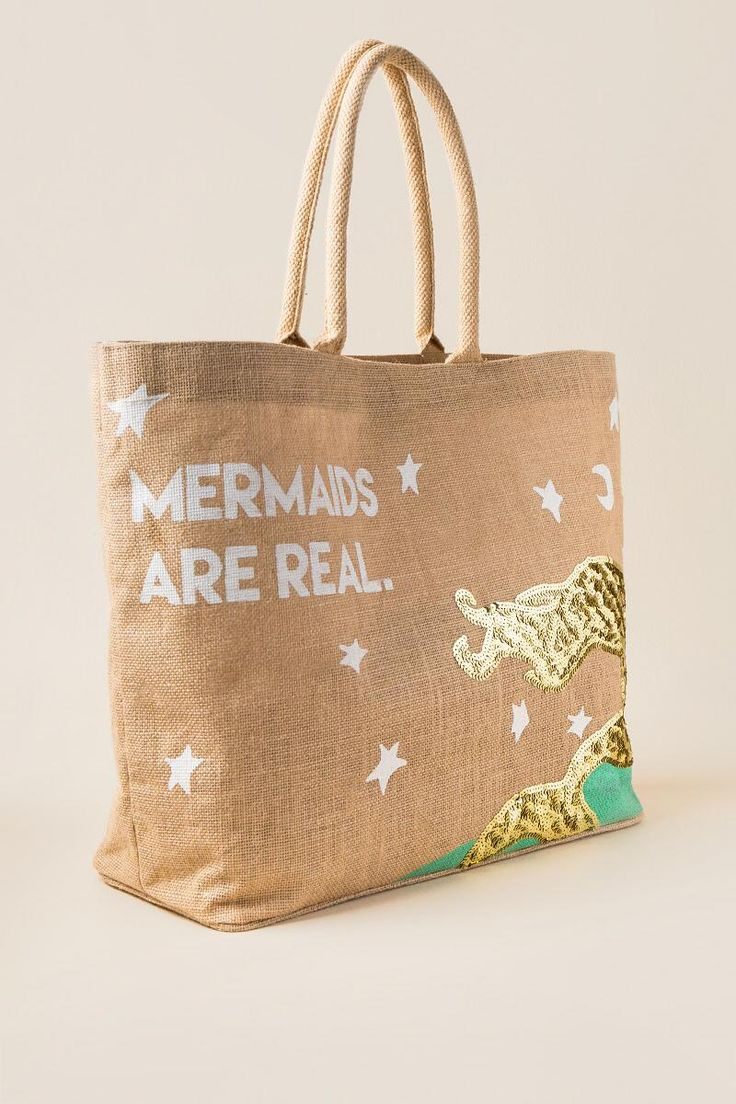 Mermaids Are Real Beach Tote- Turquoise side
