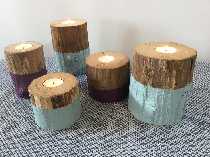 série de 5 bougeoirs en bois peint écolo-chic : Luminaires par atelier-art-b