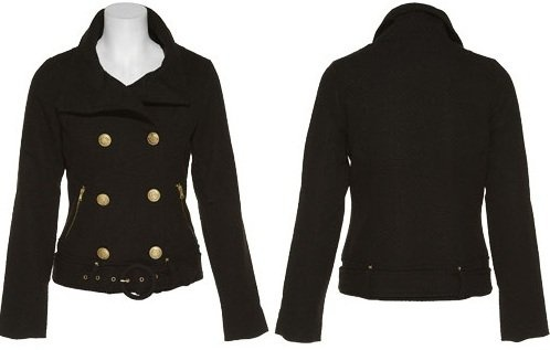 DOLLHOUSE Tweed Double Breasted Jacket W/ Gold Zippers [75327B-59], Black $15.00