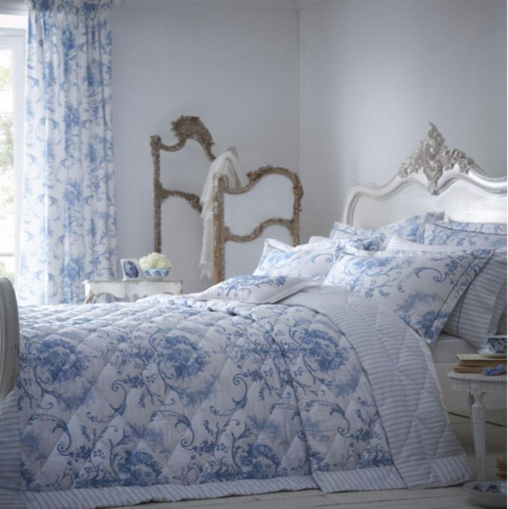 Dorma Blue Toile Collection Quilted Throw - Dunelm Mill