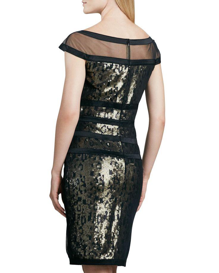 Черное Платье с Золотистыми Пайетками