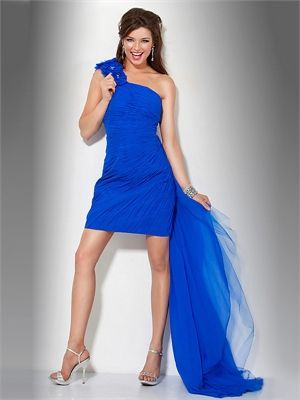 One Shoulder with Flower and Train Pleated Short Prom Dress PD11189 www.dresseshouse.co.uk £142.0000  -----2013 Prom Dresses,Prom Dresses 2013,Prom Dresses,Prom Dresses UK,2013 Prom Dresses UK,Prom Dresses 2013 UK