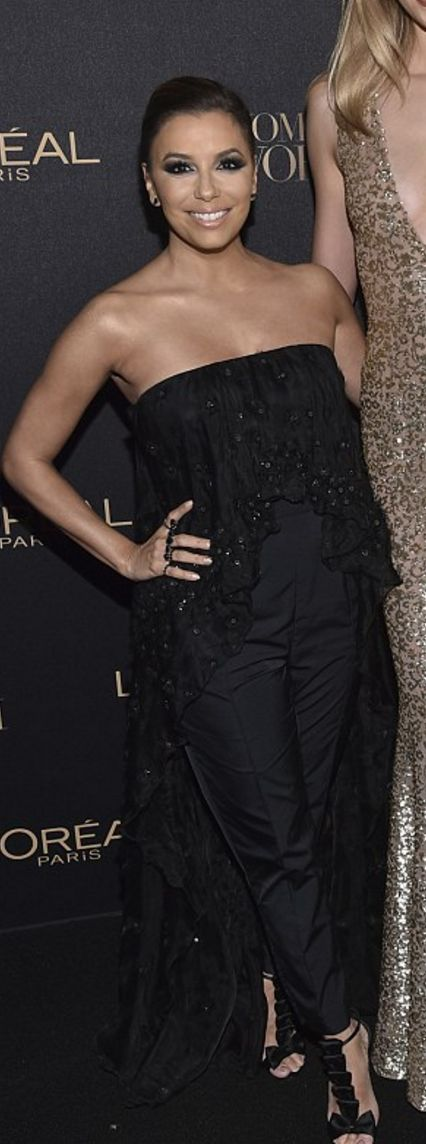 Who made  Eva Longoria's black strapless jumpsuit and sandals?