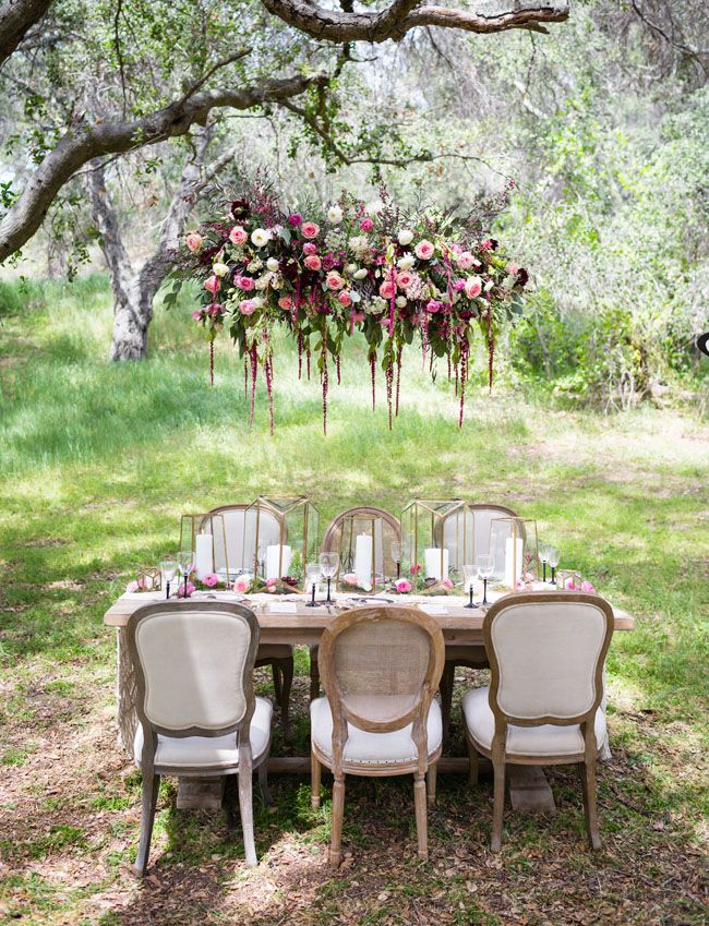 Floral Chandelier inspiration--- (not necessarily looking at the table set up).  Our floral/mossy chandelier will be bigger and more dramatic. This is just to give you a general idea.