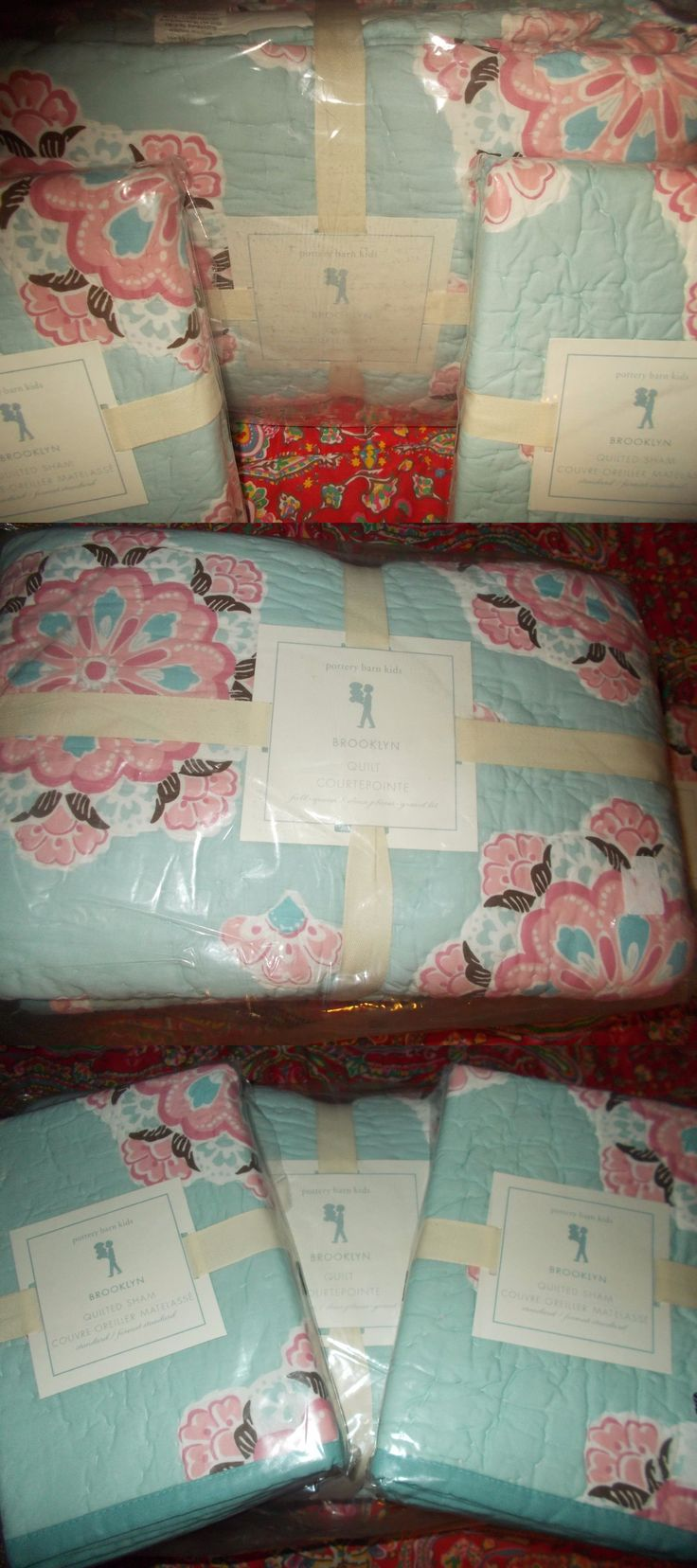 Quilts 66730: Pottery Barn Kids Brooklyn Quilt, Full Queen,+ 2 Standard Shams, New, Aqua -> BUY IT NOW ONLY: $244.04 on eBay!