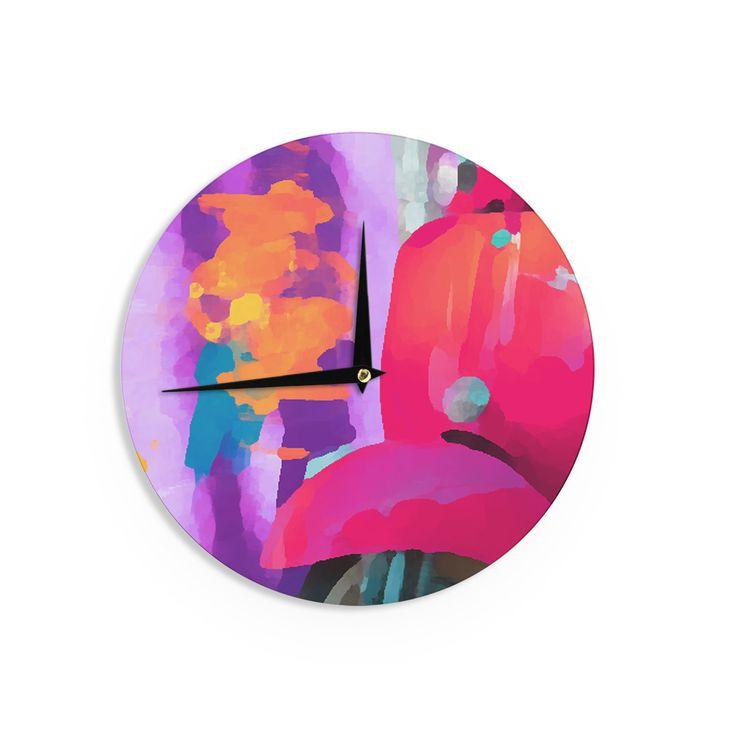 "Oriana Cordero ""Vespa II"" Pink Purple Wall Clock"