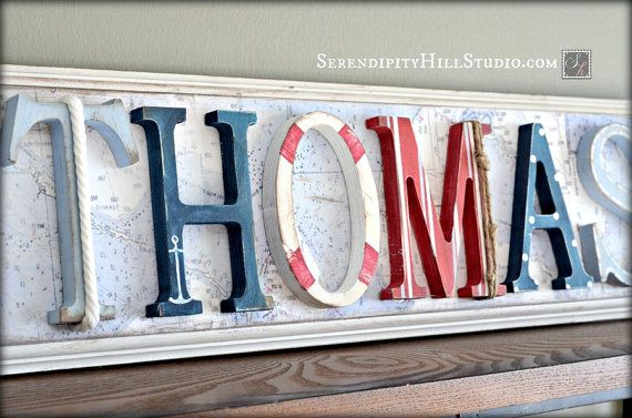 Nautical name plaque - custom, made to order wall letter sign, personlized heirloom quality children's nursery art and decor