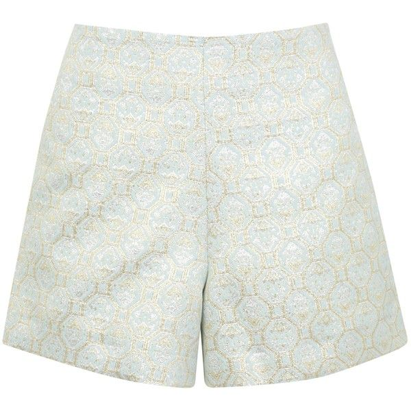 Miss Selfridge Jacquard Shorts, Mint Green (41 RON) ❤ liked on Polyvore featuring shorts, mint green shorts, woven shorts, jacquard shorts, miss selfridge and metallic shorts