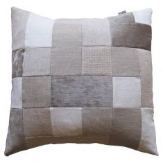 Neutral cushion in patchwork design