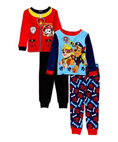 Another great find on #zulily! Four-Piece Red & Blue PAW Patrol Pajama Set - Toddler #zulilyfinds