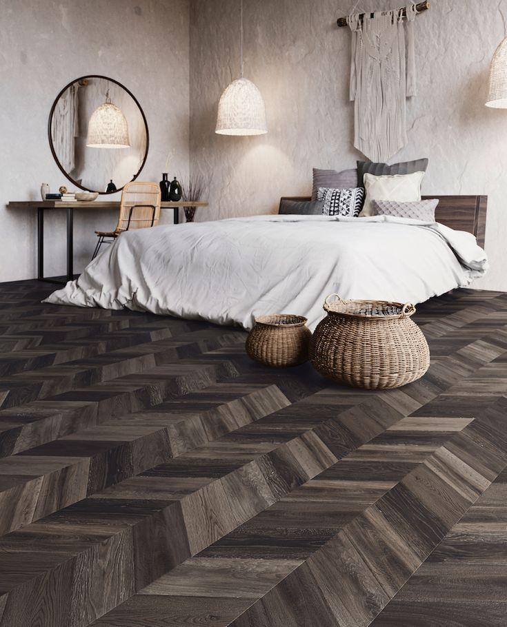 Interieurinspiratie: pvc vloeren met dessin Bohemian met korte Hongaarse punt. Expressive Floors uit de Impress collectie van Moduleo #vloeren #pvcvloer #moduleo #interieur #houtenvloer