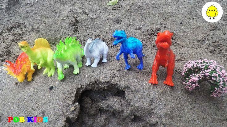 Car toys video for kids, dinosaur toys for children, POB KIDS