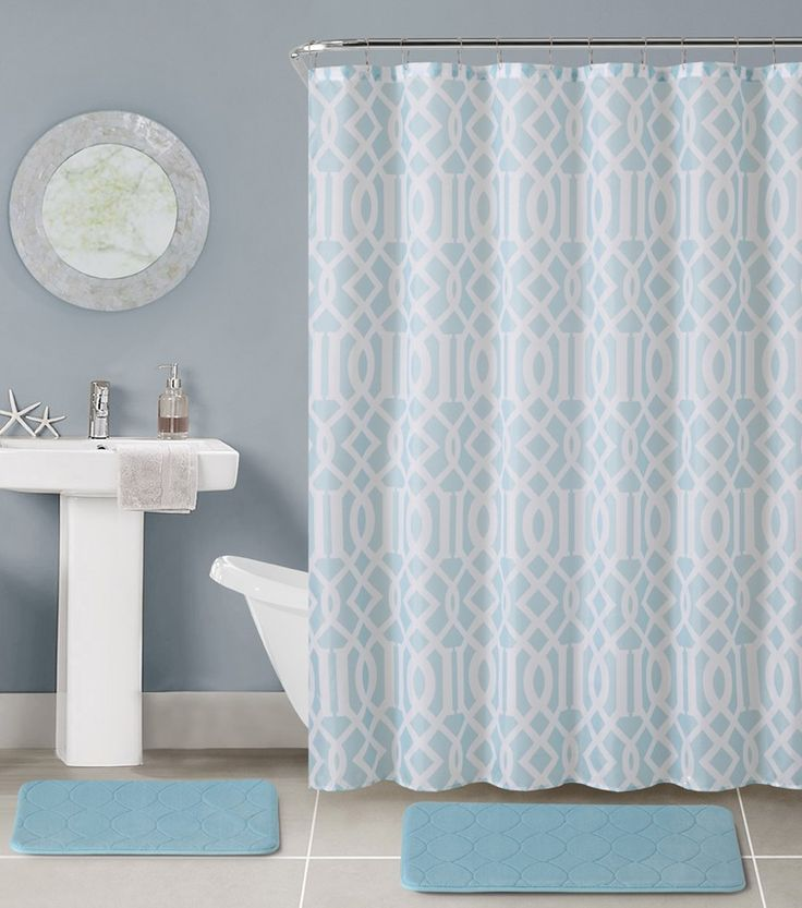 17 Best ideas about Light Blue Bathrooms on Pinterest | Small ...:VCNY Aaron 15 Pc Bathroom Set Memory Foam Bath Mats Shower Curtain and  Rings, Light,Lighting