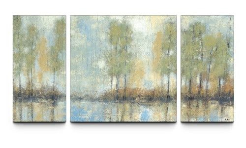 Through the Mist 30 x 60 Textured Canvas Art Print Triptych - Wall ...