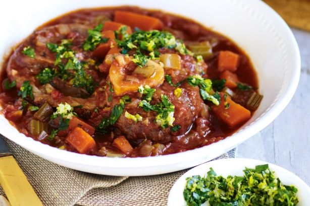 Slow-cooker osso bucco with gremolata. Made this today and it REALLY is easy and fabulous!