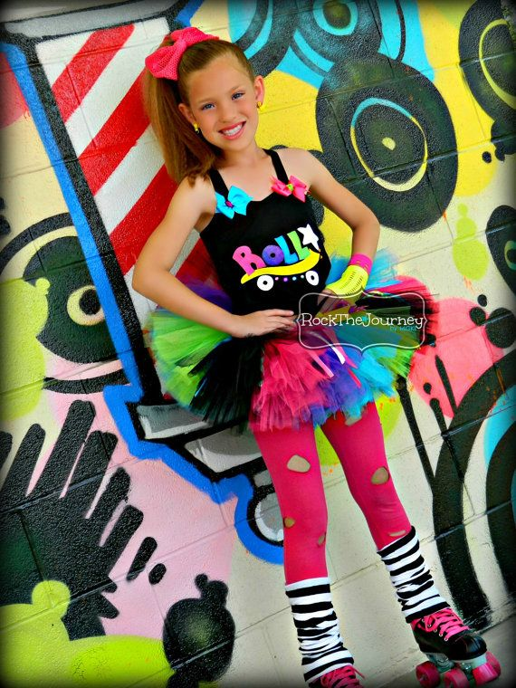 Rock and Roller Skate - Retro 80's Baby Neon Rainbow Tutu Birthday Party Outfit Pop Star Rock Star Rock and Roll Shirt Big Kids(size 4T - 8) on Etsy, $68.00