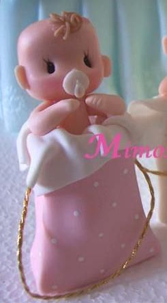 Porcelain Toppers for Baby Showers, Children's 1st Birthdays or Gifts by Mimosa Designs.