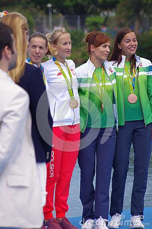 Women's Double Sculls Magdalena Fularczyk-Kozlowska and Natalia Madaj of Poland  and Lithuanian Donata Vistartaite and Milda Valciukaite with Olympic medals at Rio2016 Summer Games. Picture taken on Aug 11, 2016